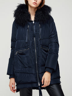 Down Jacket, with Curly Wool Trim Hood