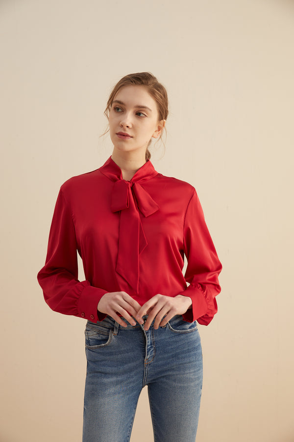 Satin Neck Tie Blouse Bow Tie Front Top with Pleated Cuff