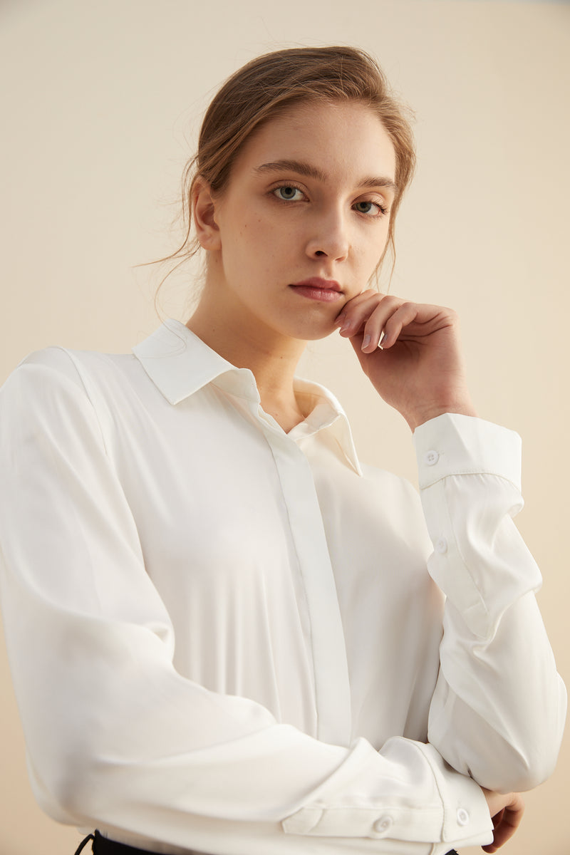 Satin Classic Button Down Blouse Front Top with Button Cuff