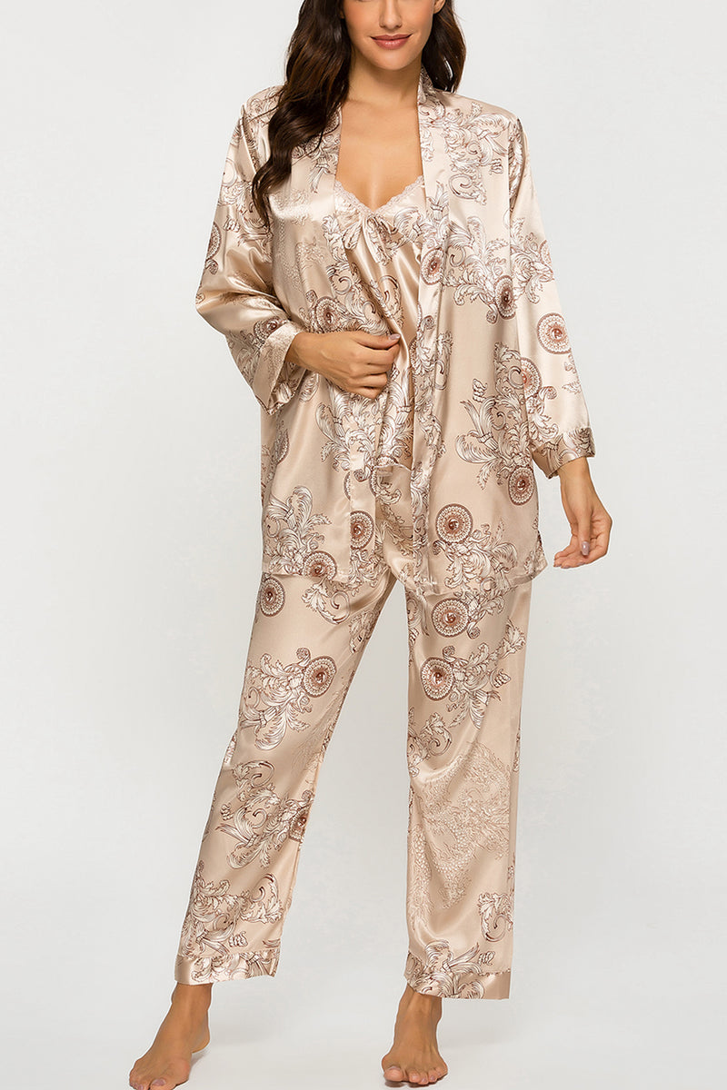 Floral Silk Satin Sleepwear 3Pcs