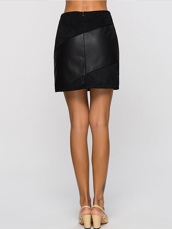 PU Leather High Waist Skirt