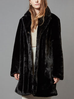 Rabbit Faux Fur Coat with Pockets