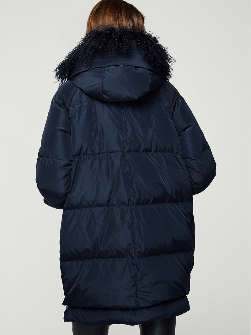 Thicken Down Jacket with Wool Hood