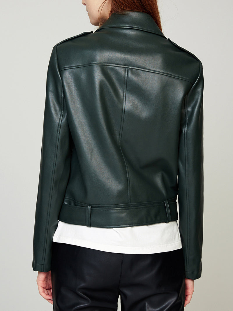 Faux Leather Bike Jacket