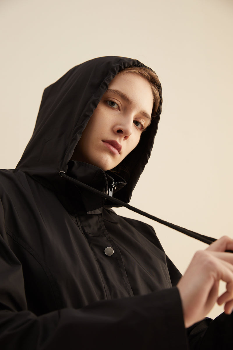 Lightweight Hooded Rain Coat Water Resistant Snap Pockets and Adjustable Waist