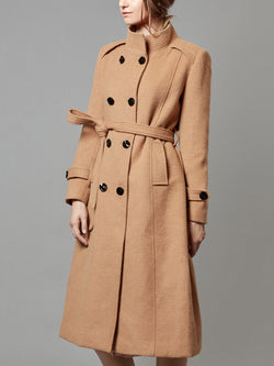 Wool Trench Coat, Double Breasted, with Belts