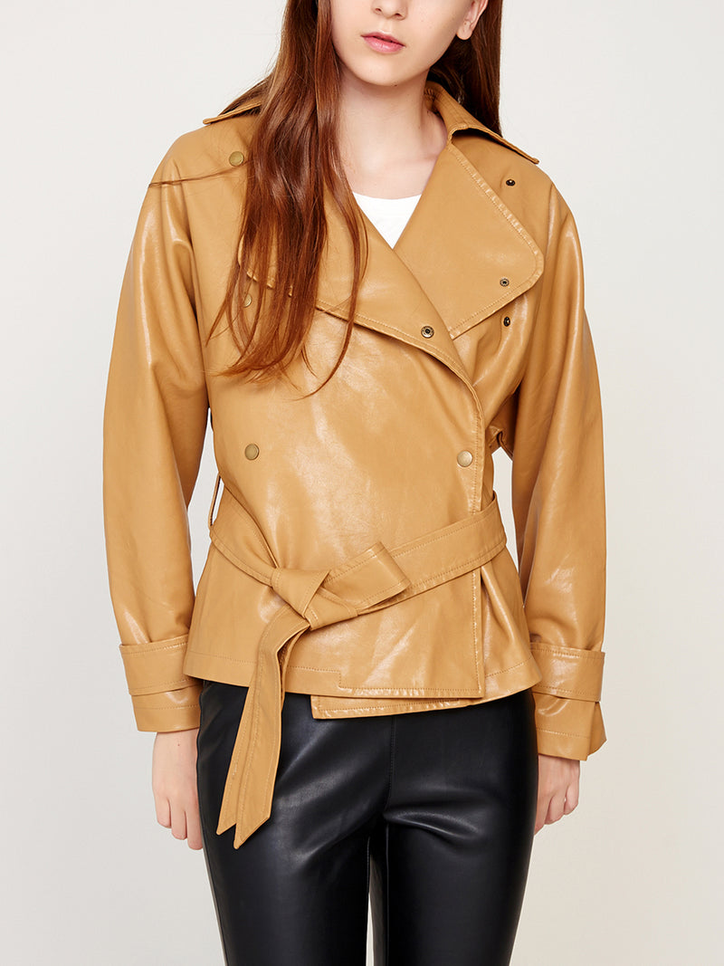 Faux Leather Short Jacket with Belt
