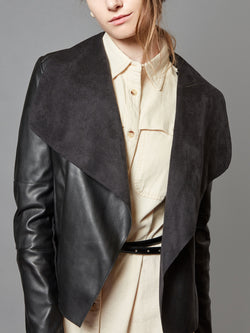 Faux Slim Leather Blazer Open Front Lapel Jacket