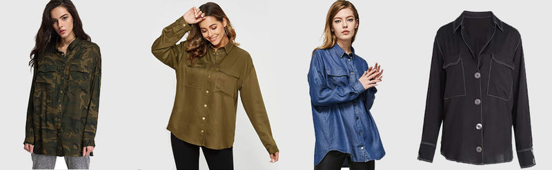 Escalier Oversized Button-Down Long Sleeve Casual Blouse
