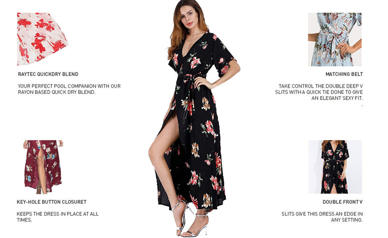 Escalier Women's Floral Maxi Dress Split Beach Flowy Party Dresses with Belt