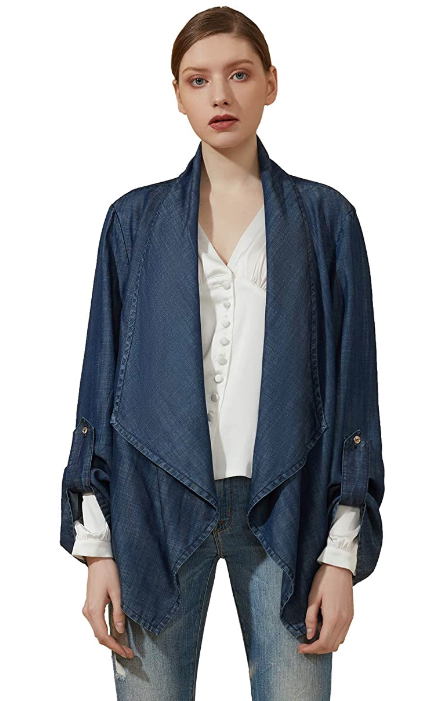 Casual Denim Jacket Open Front Lapel Jean Jacket Cardigans