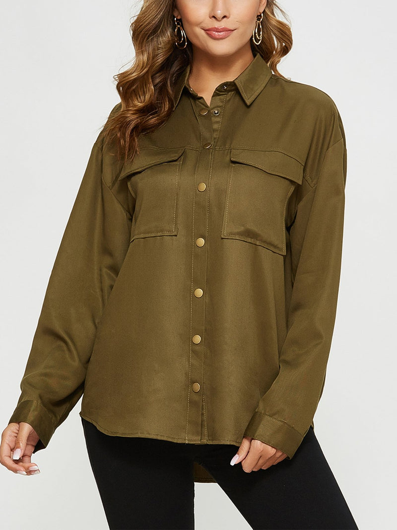 Button-Down-Casual-BlouseEscalier Women's Button-Down Shirt Long Sleeve Casual Blouse Oversized Shirts with Pocket