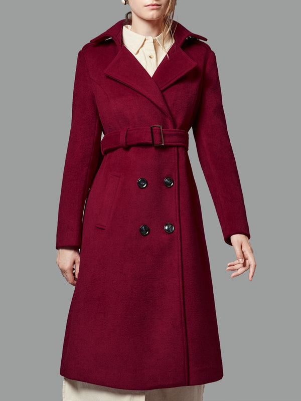 Wool Coat , Double Breasted , Long Trench Coat with Belt
