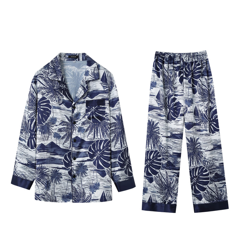 Men's Silk Satin Hawaiian 2pcs Pajama Set