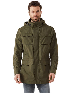 Sport Utility Military Jacket With Adjustable Waist, Optional Hood & Multi-Pocket Water Resistant Windbreaker