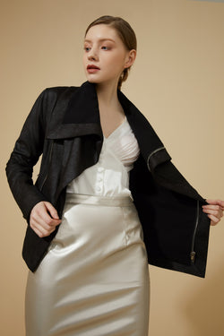 Slim Open Front Lapel Biker Jacket Faux Leather Moto Coat