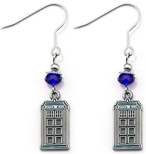 Doctor Who: Blue Gemstone TARDIS Earrings
