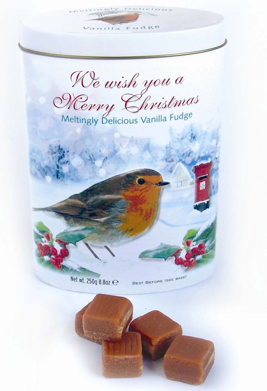 Gardiners' Merry Christmas Robin Tin with Vanilla  Fudge