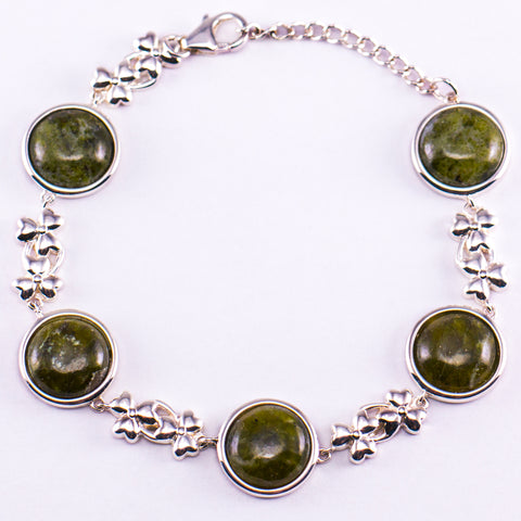 Connemara Marble and Silver Shamrock Bracelet