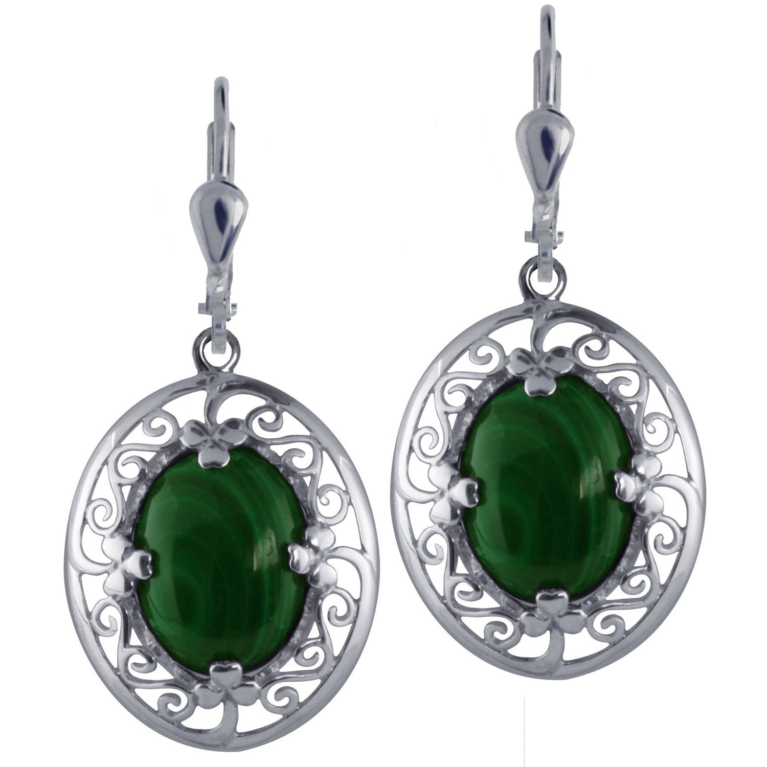 Malachite and Silver Shamrock Earrings