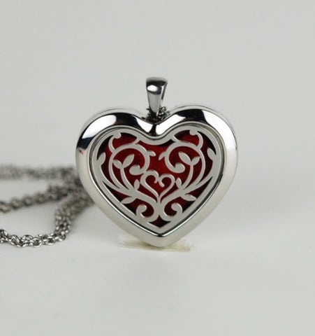 Aromatherapy Locket and Necklace: Vine Heart