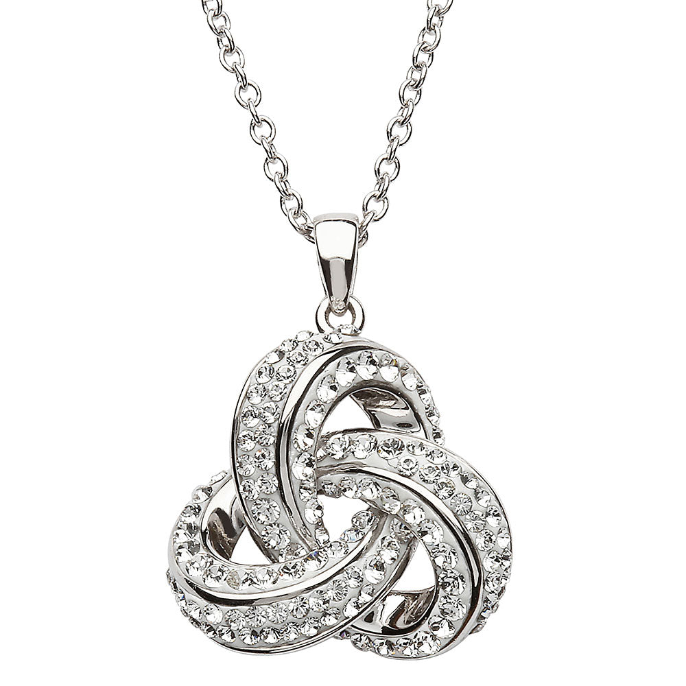 "Silver and Crystal ""Trefoil Knot"" Pendant and Necklace"