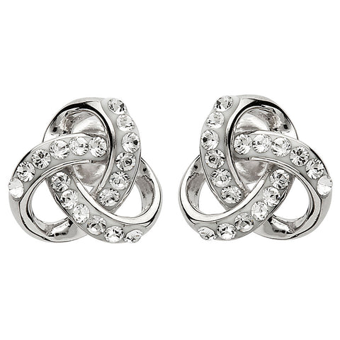 "Silver and Crystal ""Trefoil Knot"" Earrings"