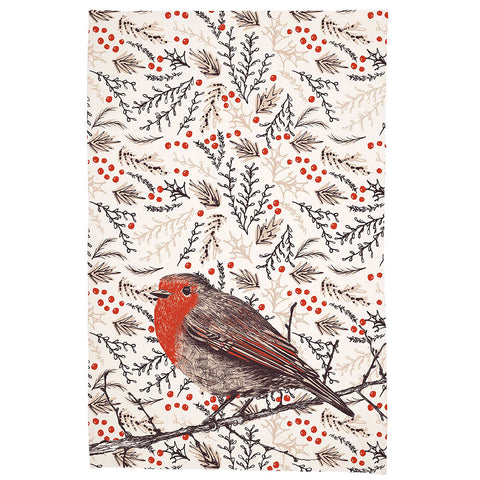 """Robin Redbreast"" Christmas Tea Towel"