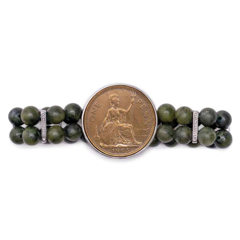 Queen Elizabeth Penny and Connmemara Marble Bracelet