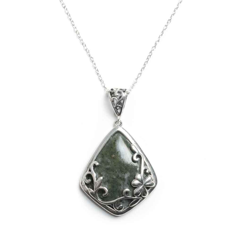 Connemara Marble and Silver Shamrock Pendant and Necklace