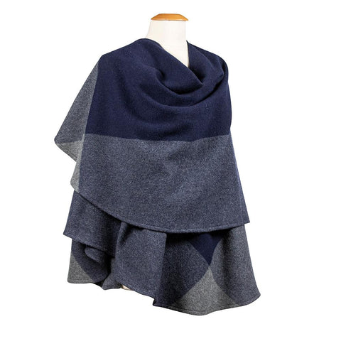 Irish Brushed Lambswool Cape: Blue and Grey