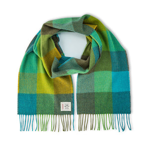 Irish Merino Wool Scarf: Green Fields