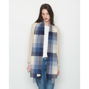 Irish Merino Wool Scarf: Winter Skies
