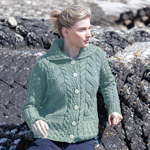 Aran Merino Wool Cardigan Sweater: Green