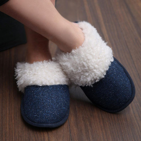 Irish Wool Tweed Slippers: Blue