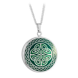 Book of Kells Trinity Knot Pendant: Green