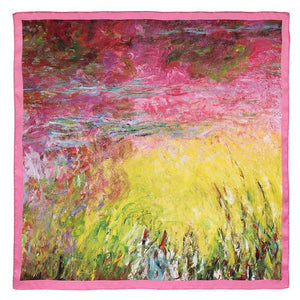 Monet Waterlilies at Sunset Satin Scarf