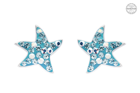 Dancing Starfish Stud Earrings with Aqua Swarovski® Crystals