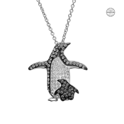 Mother & Baby Penguin Necklace With & Swarovski® Crystals