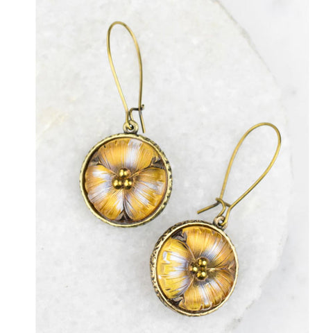 Antique Button and Lily Earrings
