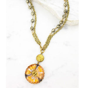 Antique Button and Lily Necklace