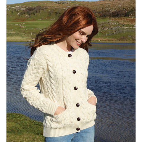 Aran Merino Wool Cardigan Sweater