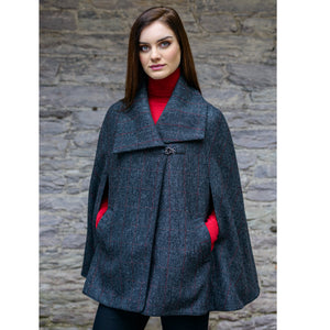 Kenmare Wool Cape: Grey Tweed