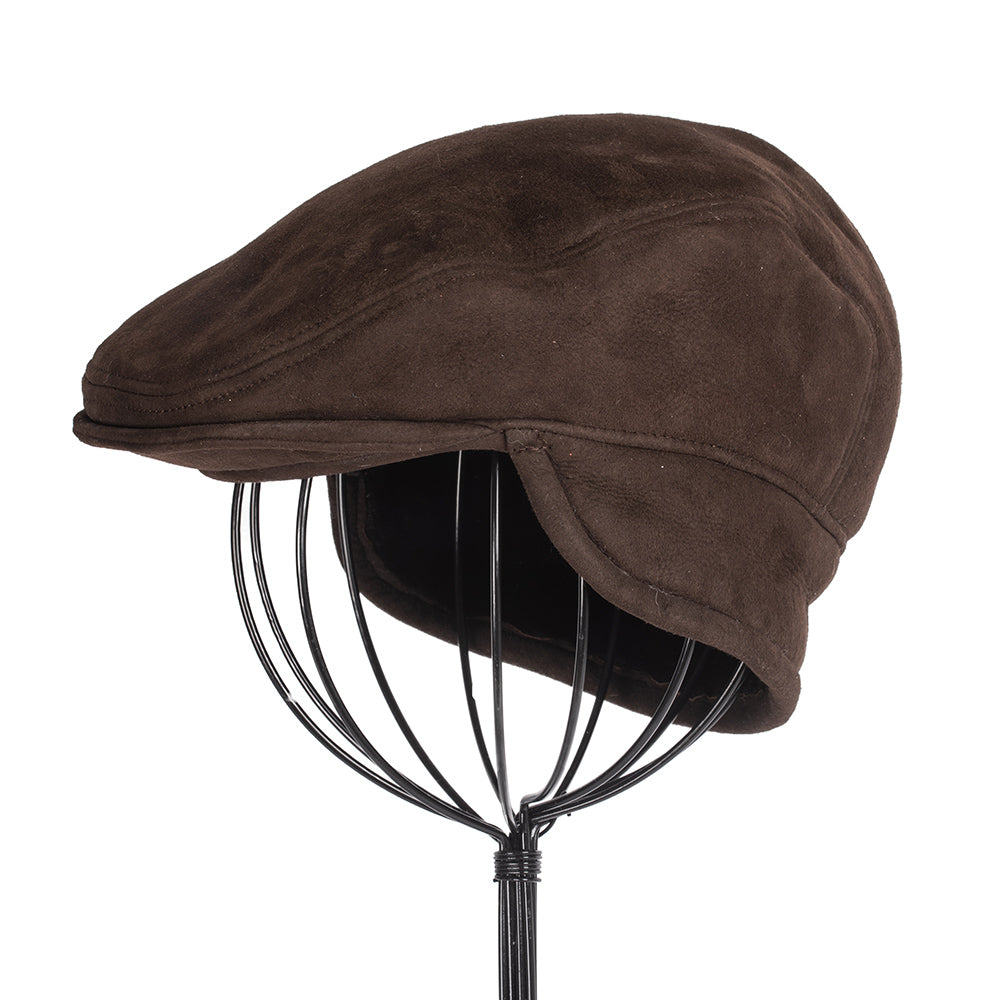 Men's Shearling Flat Cap: Dark Brown
