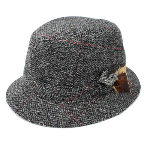 Men's Tweed Walking Hat: Grey