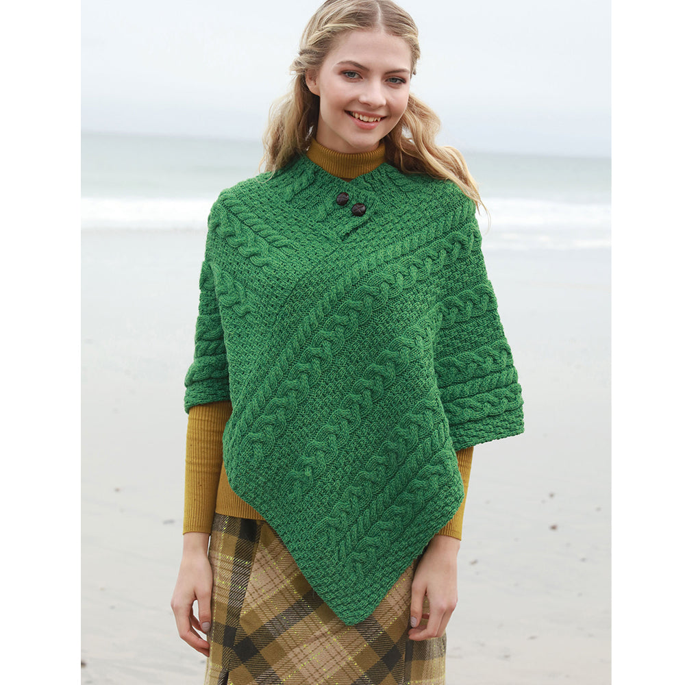Shamrock Green Wool Poncho