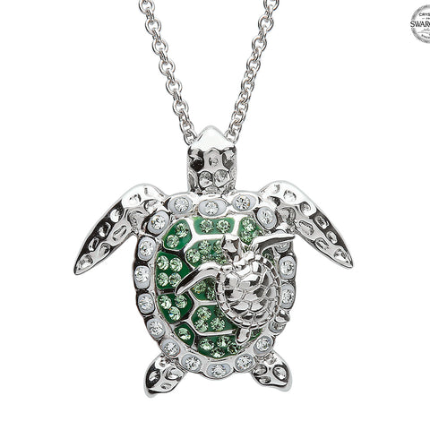 Silver and Crystal Turtle Pendant and Necklace