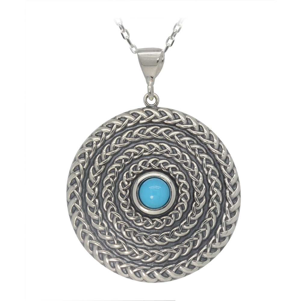 Silver and Turquoise Circle Pendant and Necklace