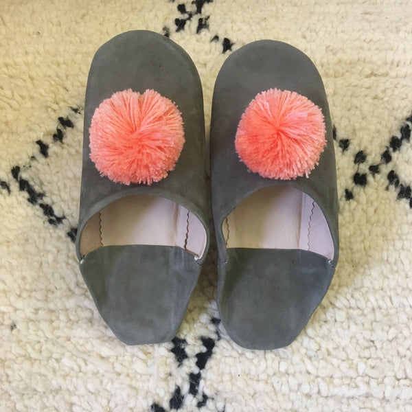 Moroccan Babouche Suede Pom Pom Slippers : Softest Grey with Peach