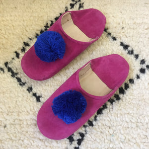 Moroccan Babouche Suede Pom Pom Slippers : Fuchsia with Cobalt